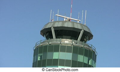 Airport Control Tower Close Up - A close up of an airport...