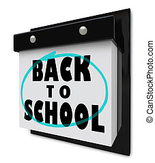 Back to School - Wall Calendar Reminder Classes Starting - A...