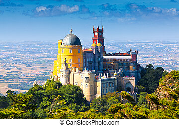 Sintra, Portugal - Pena National Palace in Sintra, Portugal...