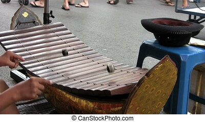 Asian Teen Playing Wooden Xylophone