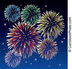 fireworks - vector fireworks background