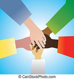five hands  - vector five hands in agreement