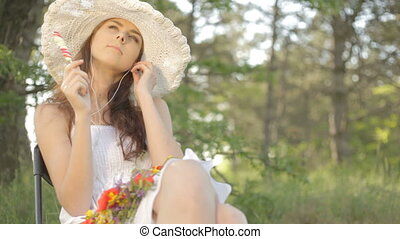 Woman, nature, summer, sitting, smi