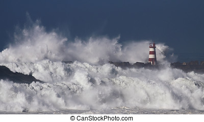 Stormy waves - Storm waves over beacon of the harbor of...