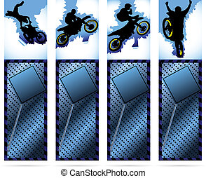 Web elements on metalic background with motorcycle silhouette