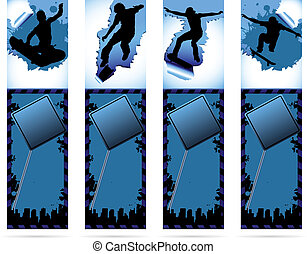 Web elements on urban grunge background with skateboarder