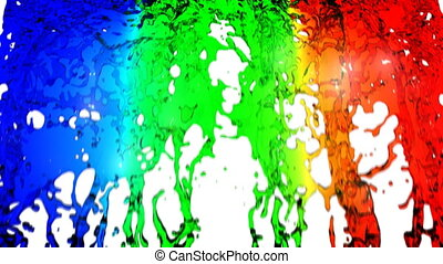 Rainbow water - Rainbow falling on white background, HD...