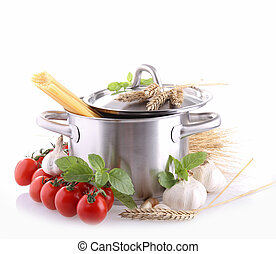 isolated pan with ingredient - cooking pot with spaghetti...