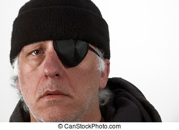 Older Man with eye patch - Portrait of a older gray haired...