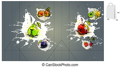 Template for bag with fruit