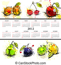 Template for calendar 2012 with fruit