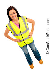 Saftey First - Young female dressed in pink top and blue...