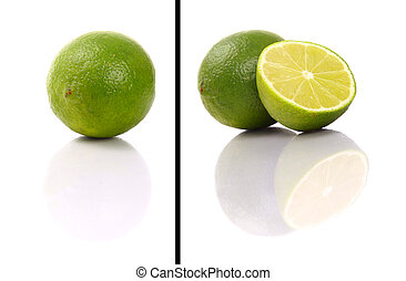 Isolated lime fruit on white background. This picture is part of the series