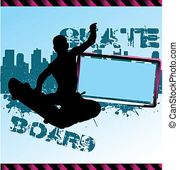 Urban vector composition with city skyline adn skateboarder silhouette