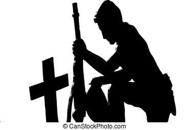 soldado, ajoelhando, silueta