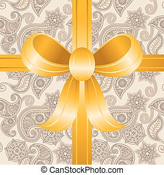 vector seamless hand drawn paisley pattern with a bow,...