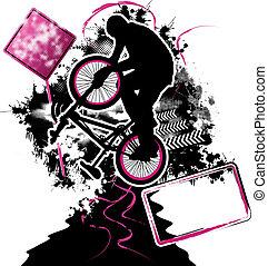 ciclista,  BMX, vetorial, modelo