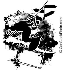 wake_boarding_02 - Wakeboarding silhouette on abstract...