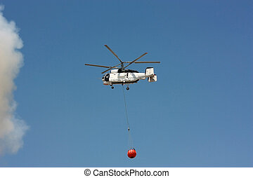 White Fire rescue helicopter with water bucket - All...