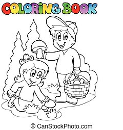Coloring book with kids mushrooming - vector illustration.
