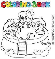 Coloring book with kids in pool - vector illustration