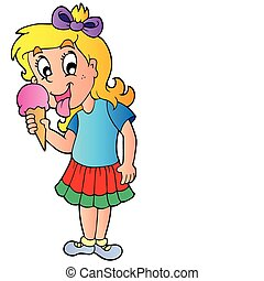 Cartoon girl with icecream - vector illustration