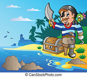 Coast with young cartoon pirate 2 - vector illustration