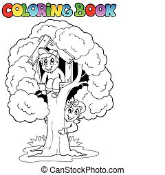 Coloring book with kids and tree - vector illustration