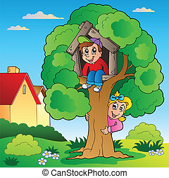 Garden with two kids and tree - vector illustration.
