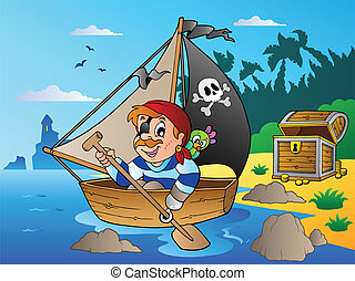 Coast with young cartoon pirate 1 - vector illustration.