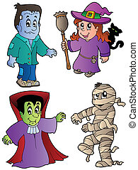 Cartoon Halloween characters 1 - vector illustration.