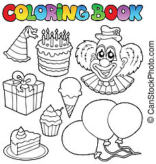 Coloring book with party theme 1 - vector illustration.