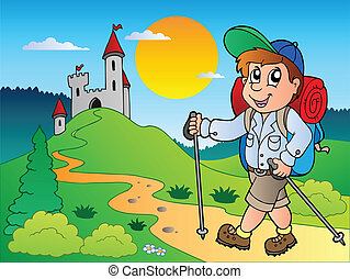 Cartoon hiker boy near castle - vector illustration.