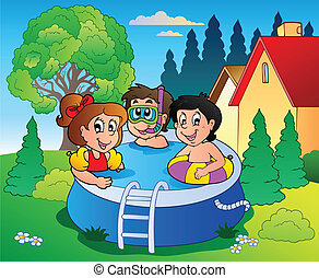 Garden with pool and cartoon kids - vector illustration.