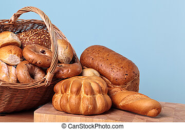 Bread variety in basket.