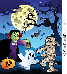 Scene with Halloween tree 4 - vector illustration.
