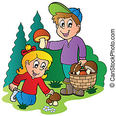 Kids picking up mushrooms - vector illustration.