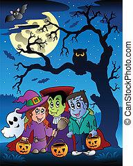 Scene with Halloween tree 3 - vector illustration.