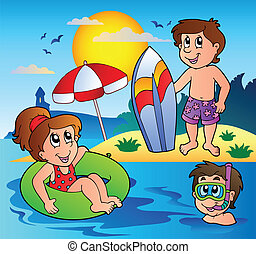 Summer theme image 1 - vector illustration