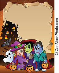 Parchment with Halloween topic 4 - vector illustration