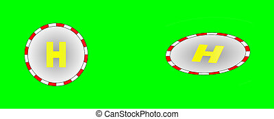 Helipad - Raster: 2 different heliports in green field