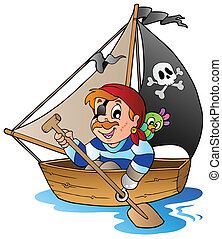 Young cartoon pirate 1 - vector illustration.