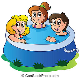 Three kids in pool - vector illustration