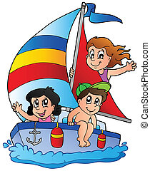 Yacht with three kids - vector illustration