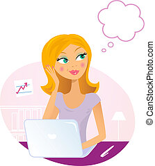 Office woman with Laptop dreaming about something -...