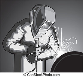 Welder at Work - Illustration of a welder welding. Vector...
