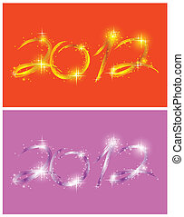 Two christmas card with glow 2012. Vector