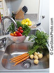 Fresh Vegetables in the Sink - Fresh vegetables, herbs, and...
