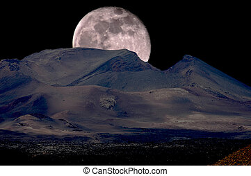 Full Moon Rising - Full moon rising over an inactive volcano...