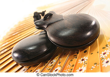 Castanets - two castanets on a Spanish fan